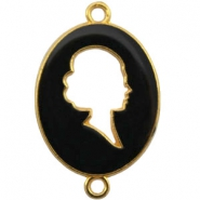 Cameo charm 2 loops Gold-black