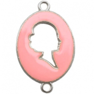 Cameo charm 2 loops Silver-light rose