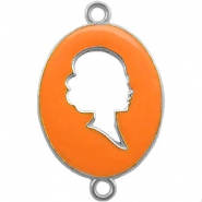 Cameo charm 2 loops Silver-autumn sunset orange