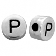 DQ metal letterbead P Antique silver (nickel free)