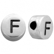 DQ metal letterbead F Antique silver (nickel free)