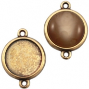 DQ metal setting 2 loops for 20mm cabochon Bronze (nickel free)