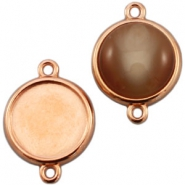 DQ metal setting 2 loops for 12mm cabochon Rose gold (nickel free)