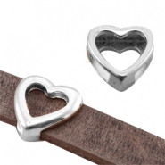 Heartshaped DQ metal slider (for 10mm flat DQ leather) Antique silver (nickel free)