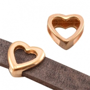 Heartshaped DQ metal slider (for 10mm flat DQ leather) Rose gold (nickel free)