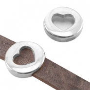 Round DQ metal slider with heart (for 10mm flat DQ leather) Antique silver (nickel free)