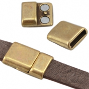 DQ metal magnetic clasp (for 10mm flat DQ leather) Antique bronze (nickel free)