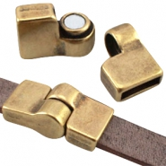 DQ metal magnetic hinge clasp (for 10mm flat DQ leather)  Antique bronze (nickel free)