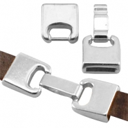 DQ metal clasp (for 10mm DQ flat leather) Antique silver (nickel free)