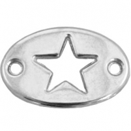 Oval DQ metal charm two eyes star Antique silver (nickel free)