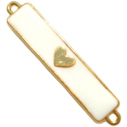 Charm two loops heart Gold - white