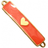 Charm two loops heart Gold - fiery red