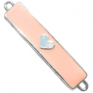 Charm two loops heart Silver - tropical peach