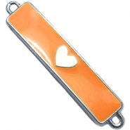Charm two loops heart Silver - sun orange