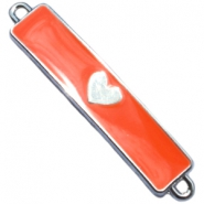 Charm two loops heart Silver - fiery red