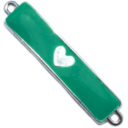 Charm two loops heart Silver - emerald green