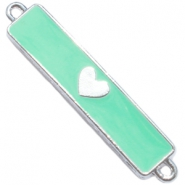 Charm two loops heart Silver - deep crysolite green