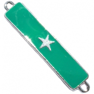 Charm two loops star Silver - emerald green