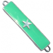 Charm two loops star Silver - deep crysolite green