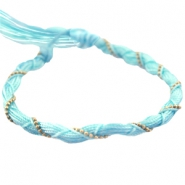 Twisted bracelets with gold coloured chain Light blue