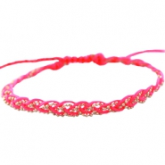 Braided bracelets with gold coloured chain Neon rose
