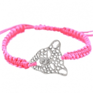 Satinwire bracelets with leopard charm Neon rose