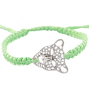 Satinwire bracelets with leopard charm Crysolite green