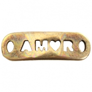 "DQ metal charm with 2 eyes ""amor"" Antique bronze (nickel free)"