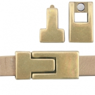 DQ metal magnetic clasp 30x13mm for 10mm flat leather Antique Bronze (nickel free)