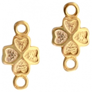 DQ metal charm with 2 loops flower Gold (nickel free)