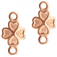 DQ metal charm with 2 loops flower Rose gold (nickel free)