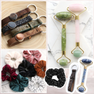 NEW NEW: Scrunchies, jade face roller + Cuoio keychains!