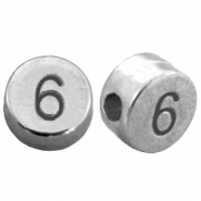 DQ metal number beads # 6 Antique silver (nickel free)