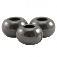 DQ metal closed flat bead 5x3.3mm Silver anthracite (nickel free)