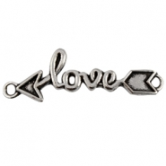 Charm with two loops love with arrow Antique silver