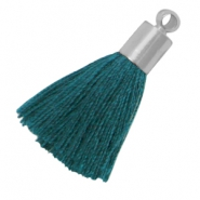 Medium tassels with silver coloured end cap Deep emerald blue zircon