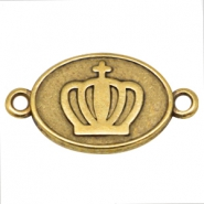 DQ metal oval charm with two loops crown Gold (nickel free)