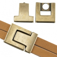 DQ metal magnetic clasp Ø 21x2.3mm Antique bronze (nickel free)