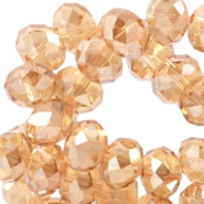 Top faceted disc beads 4x3mm  Light topaz diamond coating