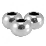 DQ metal flat bead Antique silver (nickel free)