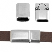 DQ metal magnetic clasp 28x14mm for 10mm flat leather Antique silver (nickel free)