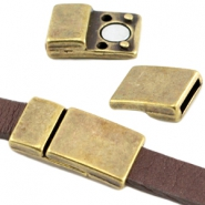 DQ metal magnetic clasp 28x14mm for 10mm flat leather Antique bronze (nickel free)