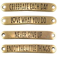 "DQ metal connector mix with quote ""life"" (English) Antique bronze (nickel free)"