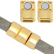 DQ metal magnetic clasp (for 5mm flat leather) Gold (nickel free)