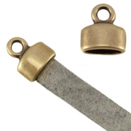 DQ metal end cap with loop (for 5mm flat leather) Antique bronze (nickel free)