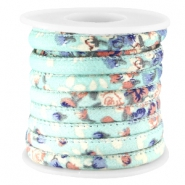 Trendy stitched flowery cord 5.5x4mm Mint green