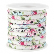 Trendy stitched flowery cord 5.5x4mm Light blue grey