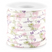 Trendy stitched flowery cord 5.5x4mm Rose violet