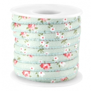Trendy stitched flowery cord 5.5x4mm Turquoise green