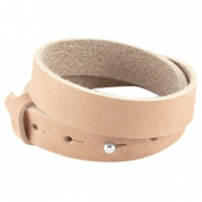 Double nubuck leather Cuoio bracelet 15mm for 20mm cabochon Sandstone brown